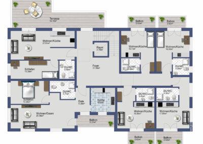 Wohnimmobilie - Augsburg-Haunstetten - Senefelder Str. 1 und 1a - Grundriss